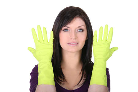 Woman with household gloves on white background Stock Photo - 16166794