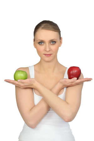 combed: Woman with two apples