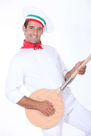 fibber: pizza cook playing guitar with a spade