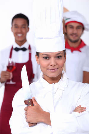 pointed arm: Catering Stock Photo