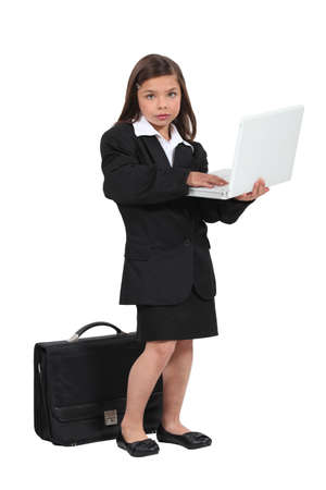 role play: Child pretending to be a businesswoman