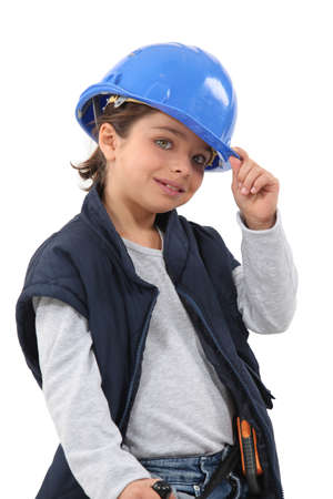 stood up: Little girl dressed as construction worker