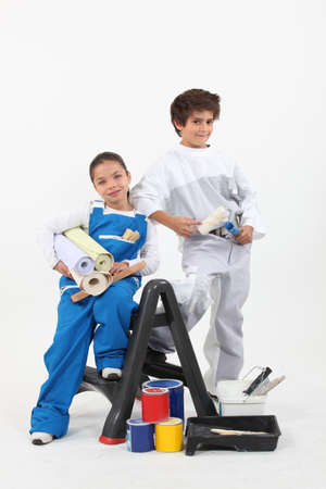 disguised: children disguised as diy Stock Photo