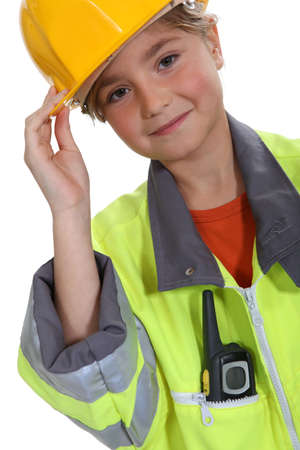 inspector kid: Little girl dressed in construction outfit