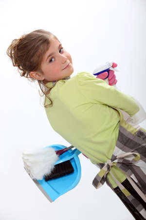 make belief: Girl pretending to be a cleaner