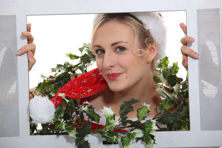 christmassy: Christmassy woman inside a television set