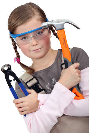 a little girl with tools photo
