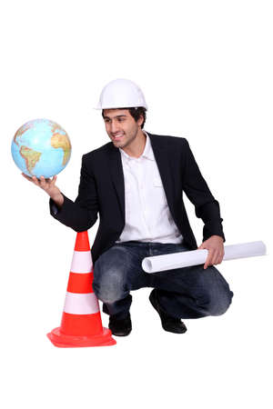 abroad: Engineer working abroad Stock Photo