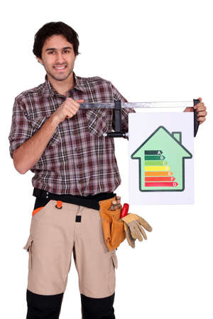 heating engineers: craftsman shows house with energy rating