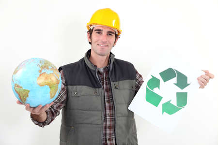 promoting: A manual worker promoting recycling