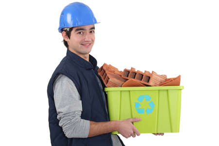 Young builder recycling Stock Photo - 16190491