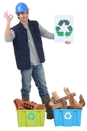 hazardous waste: Construction worker recycling