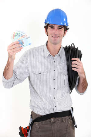 Electrician making savings photo
