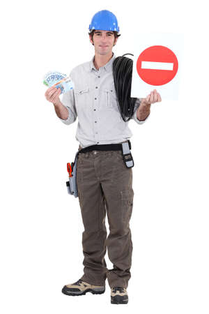 road worker: road worker holding a traffic sign and bills