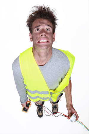 frazzled: Man being electrocuted Stock Photo