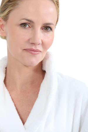 bath gown: Woman in bath robe