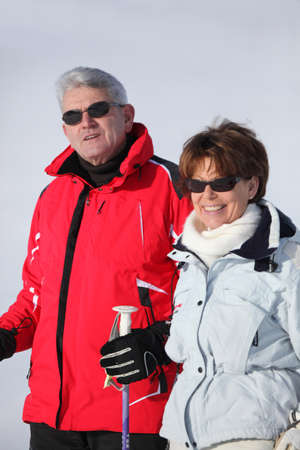 Couple on a skiing holiday together photo