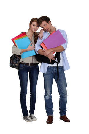 Students with files photo