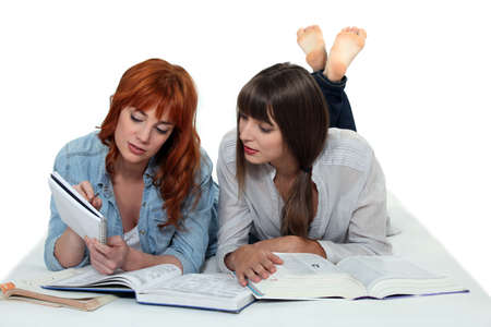 collate: Two girls studying together