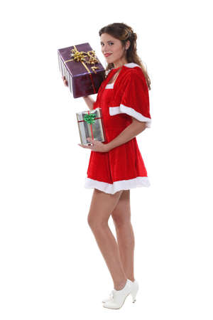 mrs  claus: Saucy Miss Santa with gifts