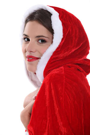 mrs claus: Brunette wearing festive outfit