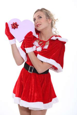 dona: Mujer vestida como la se�ora Claus