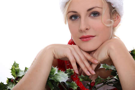 beauteous: Woman with holly