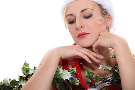 Woman in festive hat posing