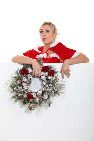 Woman singing Christmas carols Stock Photo - 16227809