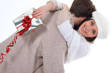 Woman happy with her surprise gift photo