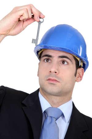 lift lock: Man with hard hat