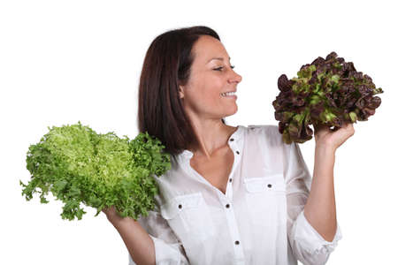 Woman holding salad Stock Photo - 16230416