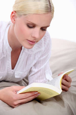 platinum hair: Woman reading