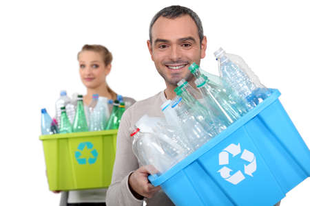 plastic box: Recycling plastic bottles Stock Photo