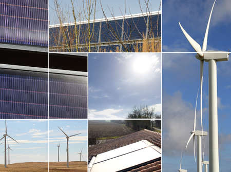hardwearing: Montage of renewable energy sources Stock Photo