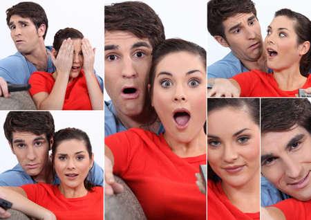 Collage de pareja viendo la televisi�n Foto de archivo - 16324359