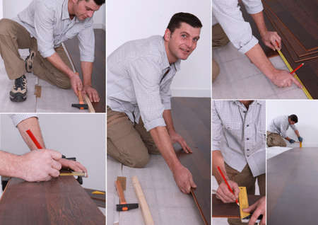 Montage on man laying laminate flooring photo