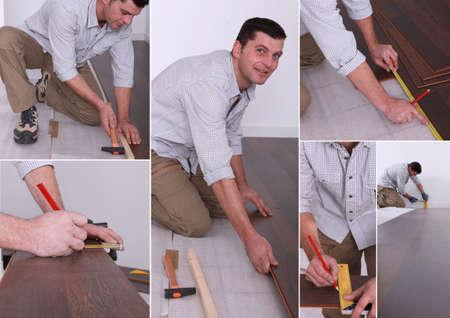 fused: Montage on man laying laminate flooring Stock Photo