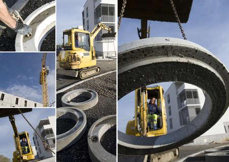 maneuverable: Construction vehicle lifting concrete ring
