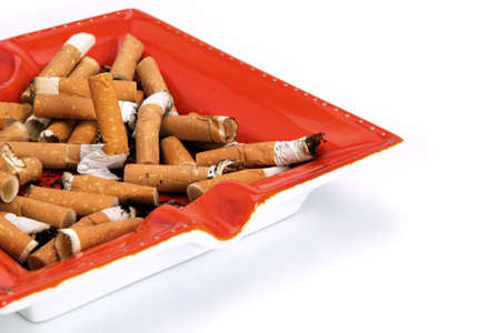 overflowing: Overflowing ashtray Stock Photo