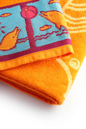 toiletries: Neatly folder beach towels Stock Photo