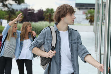 going up: Teenagers going to school Stock Photo