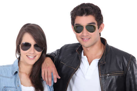 portrait of teenagers with sunglasses photo