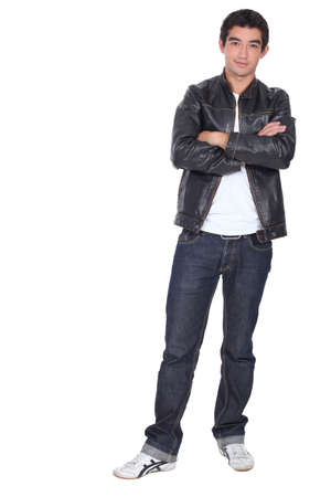 Young man in a leather jacket Stock Photo - 16336730