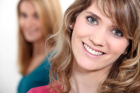 all smiles: portrait of young blonde all smiles Stock Photo