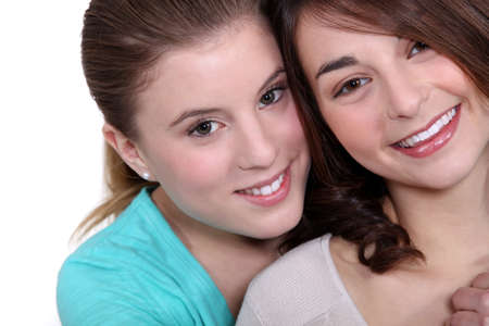 lesbian girls: Two female friends hugging
