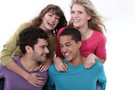 teenagers laughing: Group of teenagers laughing Stock Photo