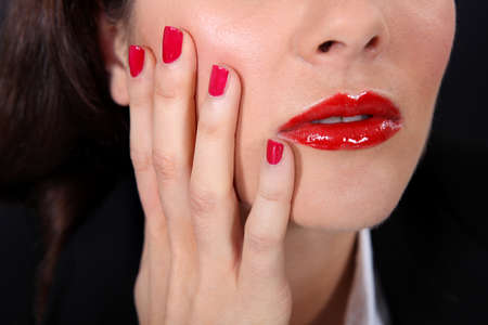bad color: Close-up of upset brunette