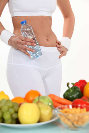 flat stomach: Healthy diet Stock Photo