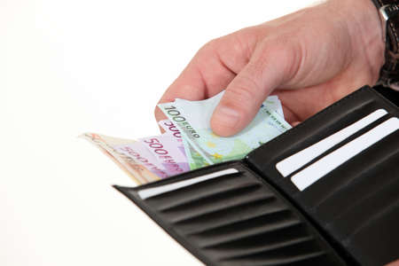 hundreds: Man with hundreds of Euros in a wallet